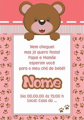 Convite de Ursinho para Chá de Bebê-7x10cm