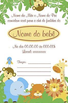 Convite de Animais para Chá de Bebê-Couchê ou Vegetal-10x15cm
