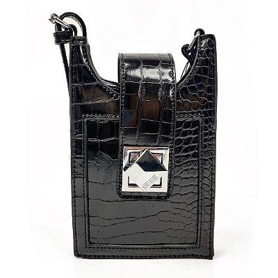 Bolsa Santa Lolla Porta Celular Croco Preta - 047031E1011900AA