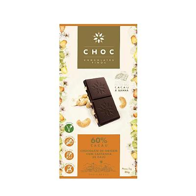 CHOCOLATE CHOC 60% CACAU DE ORIGEM CAST CAJU 80G