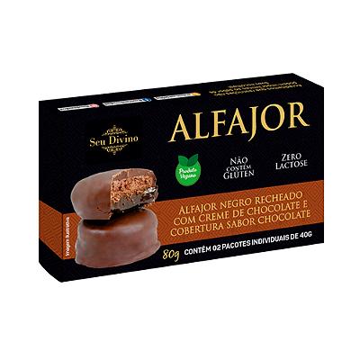 ALFAJOR VEG CHOCOLATE COM CHOCOLATE SEU DIVINO 80G