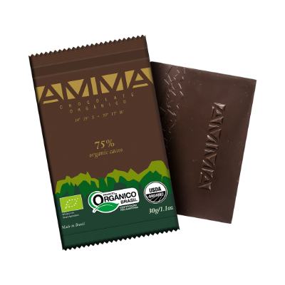 TABLETE AMMA CHOCOLATE ORGANICO 75% CACAU 30G
