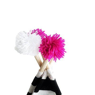 Kit 4 Pompons - Rosa Pink e Branco