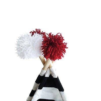 Kit 4 Pompons - Vermelho e Branco