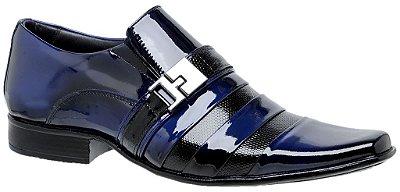 Sapato Social Gofer Envernizado Azul / Preto