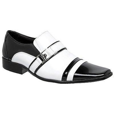 Sapato Social Gofer Em Couro Verniz Preto e Branco