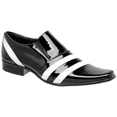 Sapato Social Gofer Em Couro Verniz Preto com detalhes Branco