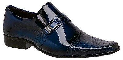 Sapato Social Em Couro Verniz Azul Gofer