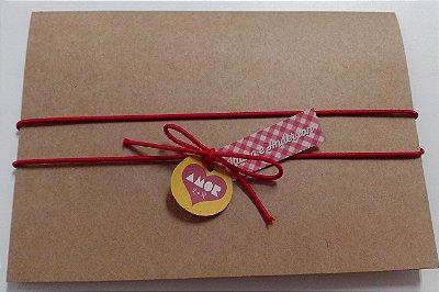 Convite Rústico Amor - Vermelho e Kraft