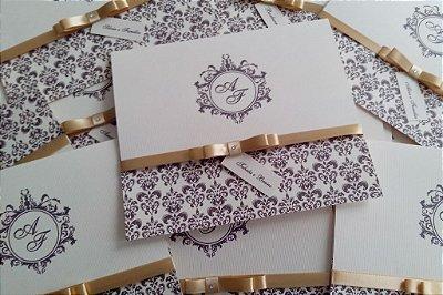 Convite Casamento Clássico - Creme, Marrom e Dourado