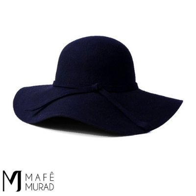 Chapéu Folk Boho Floppy Azul Marinho