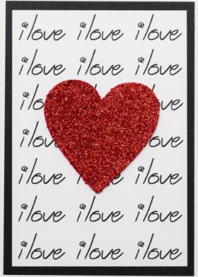 Cartão I Love Glitter