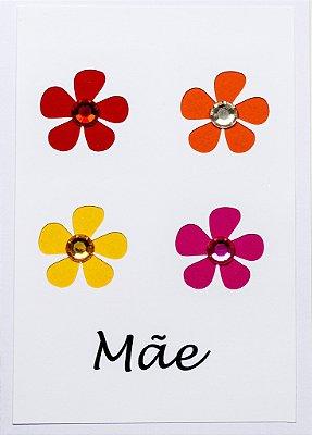 Cartão Mãe Flor Glitter
