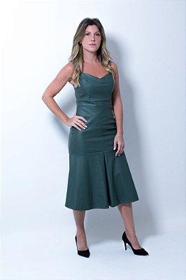 Vestido de Couro Verde