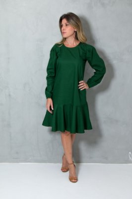 Vestido Tricoline Verde