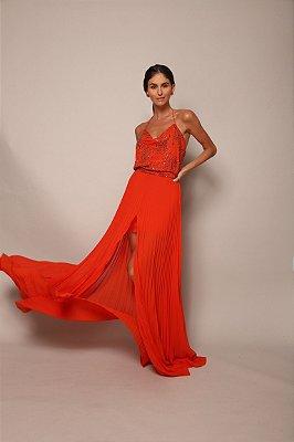 Vestido renda plissado