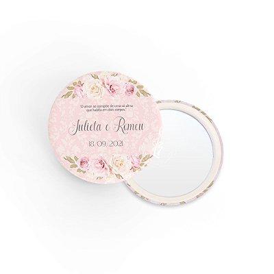 Kit Espelho Lembrancinha Casamento Rosas Florais