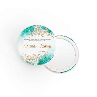 Kit Espelho Lembrancinha Casamento Esmeralda