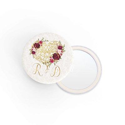 Kit Espelho Lembrancinha Casamento Coração Floral