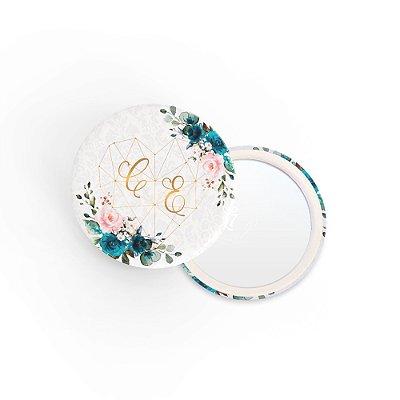 Kit Espelho Lembrancinha Casamento Azul Hortência
