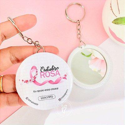 Kit Espelho Chaveiro Brinde Outubro Rosa Apoio Essa Causa