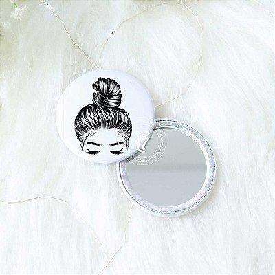 Kit 100 Espelho de Bolsa Perolado Branco Holográfico