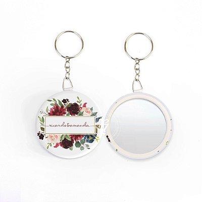 Kit Espelho Chaveiro Lembrancinha Casamento Flores