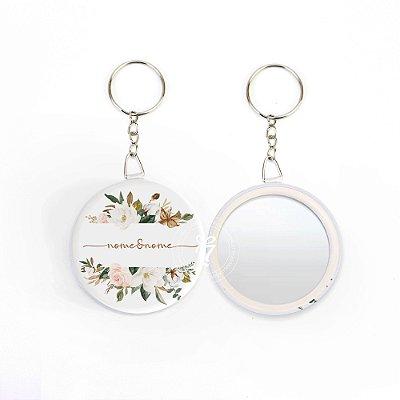Kit Espelho Chaveiro Lembrancinha Casamento Nomes