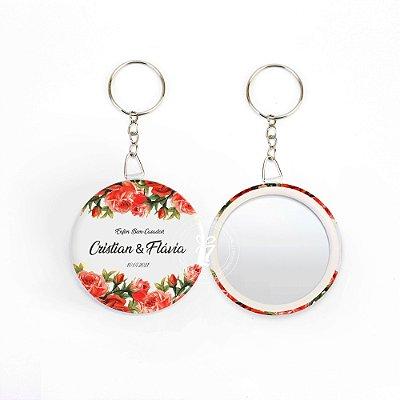 Kit Espelho Chaveiro Lembrancinha Casamento Rosas