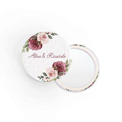 Kit Espelho Lembrancinha Casamento Marsala