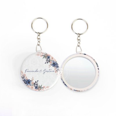 Kit Espelho Chaveiro Lembrancinha Casamento Violeta
