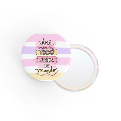 Kit Espelho de Bolsa Frase Amor do Mundo