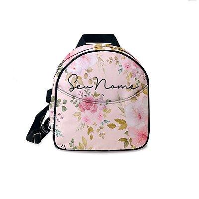 Mochila Mini Bag Personalizada Flores Rosas