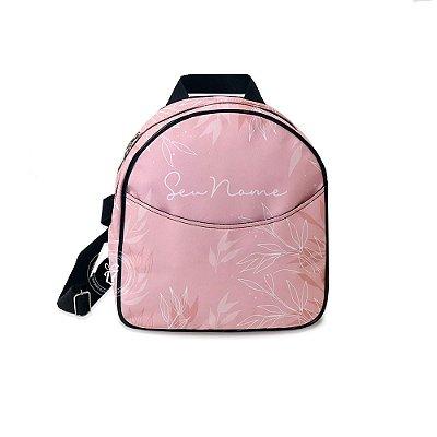 Mochila Mini Bag Personalizada Folhas Rose