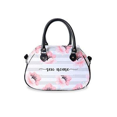 Bolsa de Mão Courino Personalizada Floral Listrada