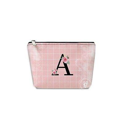 Kit Necessaire Personalizada Rosa Quadriculada