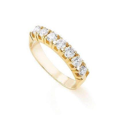 4 Anel Meia Aliança com 7 Diamantes 42 Pts