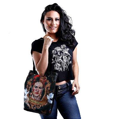 Bolsa mochila feminina estampa Frida Kahlo
