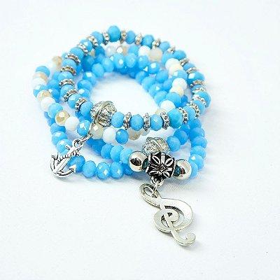 kit 4 pulseiras azul
