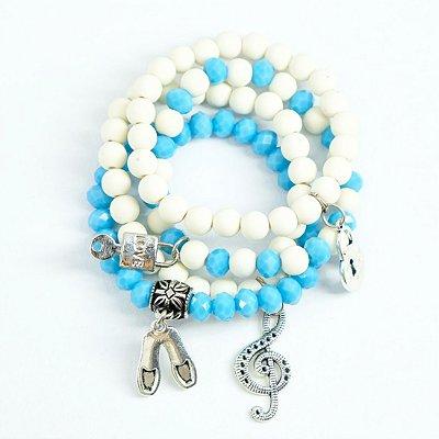 kit 5 pulseiras azul e branca