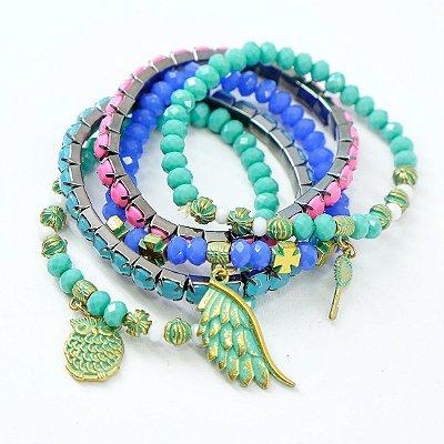 kit 5 pulseiras coloridas