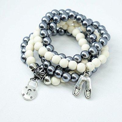 kit 5 pulseiras branco e prata