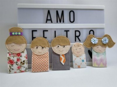 Família educativa dedoches (Kit com 5 membros)