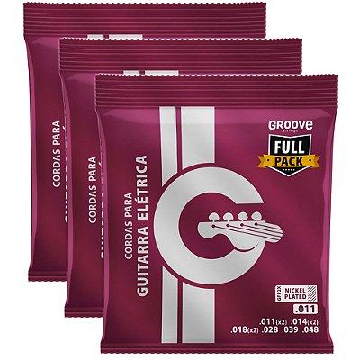 Kit Encordoamento Guitarra Groove Full Package 011-048 GFP2X - 3 unidades