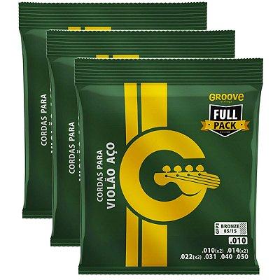 Kit Encordoamento Violão Groove Full Package 010-050 GFP3 - 3 unidades