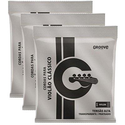 Kit Encordoamento Violão Nylon Groove Tensão Pesada GS5 - 3 unidades