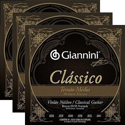 Kit Encordoamento Violão Nylon Giannini GENWPM Clássico Tensão Média - 3 unidades