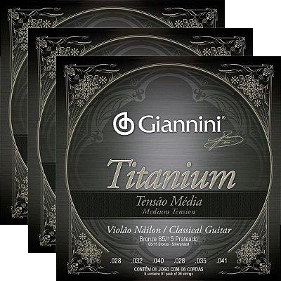 Kit Encordoamento Violão Nylon Giannini GENWTM Titanium Tensão Média - 3 unidades
