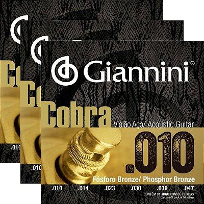 Kit Encordoamento Violão Giannini .010-.050 Cobra Phosphor Bronze GEEFLEF - 3 unidades