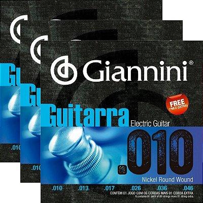 Kit Encordoamento Guitarra Giannini GEEGST10 010-046 Nickel Round Wound - 3 unidades